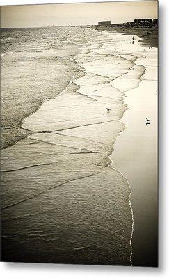 Walking Along The Beach At Sunrise Metal Print by Marilyn Hunt