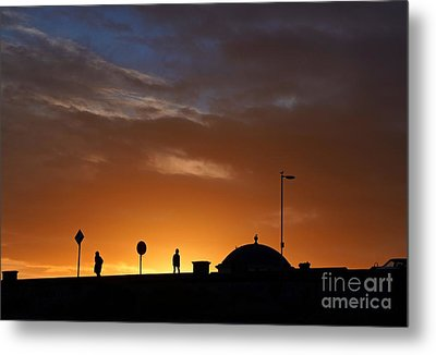 Metal Print featuring the photograph Walking At Sunset by Les Bell