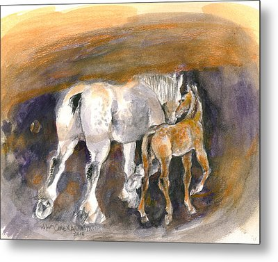 Metal Print featuring the painting Walking Away by Mary Armstrong