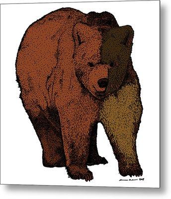 Walking Bear - Color Metal Print by Karl Addison