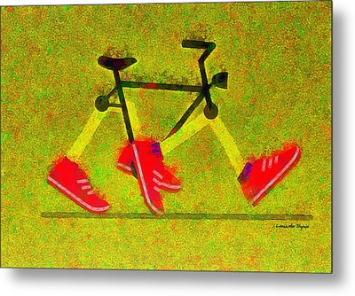 Walking Bike - Pa Metal Print by Leonardo Digenio