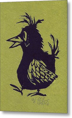 Walking Bird With Green Background Metal Print by Barry Nelles Art