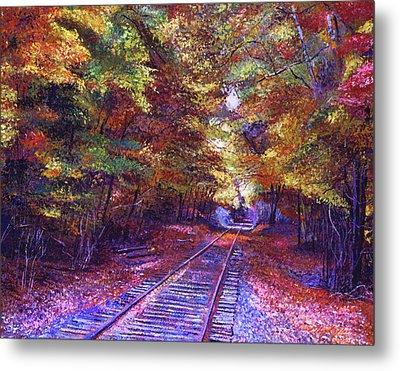 Walking Down The Railway Tracks Metal Print by David Lloyd Glover