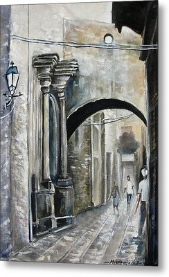 Walking Down The Street Metal Print