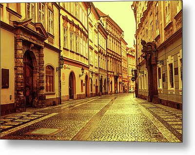 Metal Print featuring the photograph Walking In Prague. Series Golden Prague by Jenny Rainbow