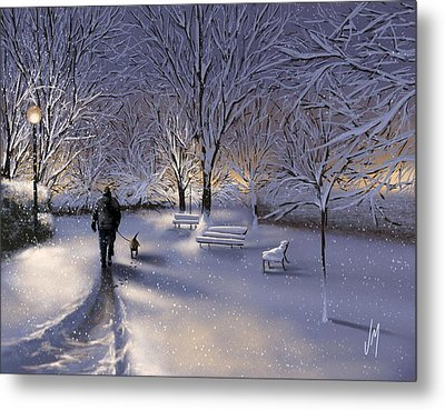 Walking In The Snow Metal Print by Veronica Minozzi
