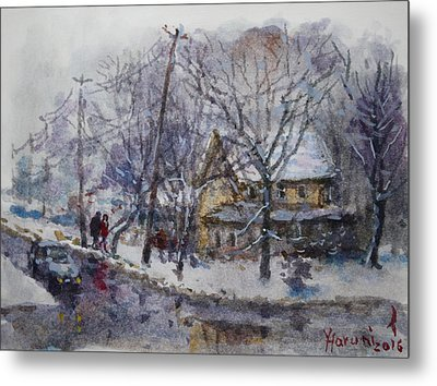 Viola And I Walking In The Winter Metal Print