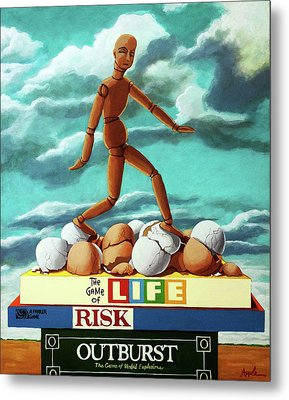 Metal Print featuring the painting Walking On Eggshells Imaginative Realistic Painting by Linda Apple