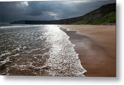 Walking On The Beach Metal Print by Contemporary Art