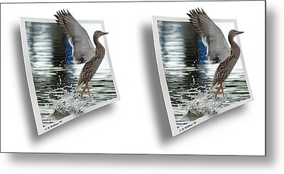 Walking On Water - Gently Cross Your Eyes And Focus On The Middle Image Metal Print by Brian Wallace