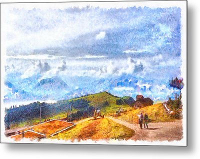 Walking Out On A Swiss Landscape Metal Print by Ashish Agarwal
