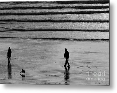 Metal Print featuring the photograph Walking The Dog At Marazion by Brian Roscorla