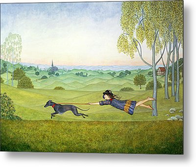 Walking The Dog  Metal Print by Ditz
