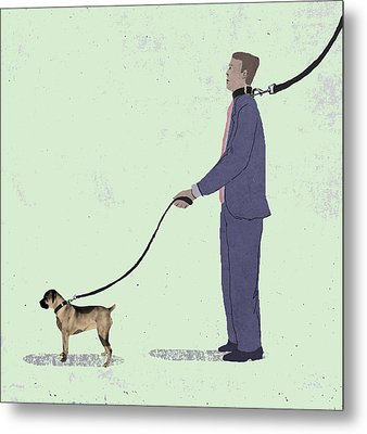 Walking The Dog Metal Print