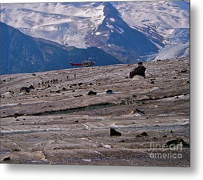 Walking The Glacier Metal Print by E Robert Dee