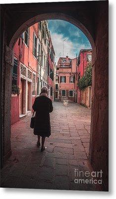 Walking Through Time - Venice, Italy Metal Print
