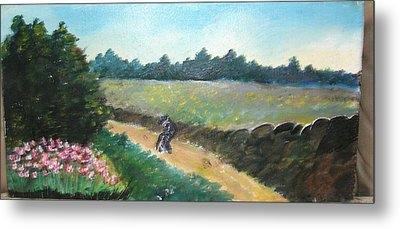 Walking To Town Metal Print by Anne-Elizabeth Whiteway