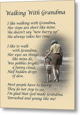 Walking With Grandma Metal Print