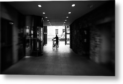 Walking With The Bike - Dublin, Ireland - Black And White Street Photography Metal Print