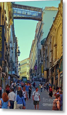 Metal Print featuring the photograph Walkway Over The Street - Lisbon by Mary Machare