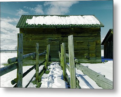 Metal Print featuring the photograph Walkway To An Old Barn by Jeff Swan