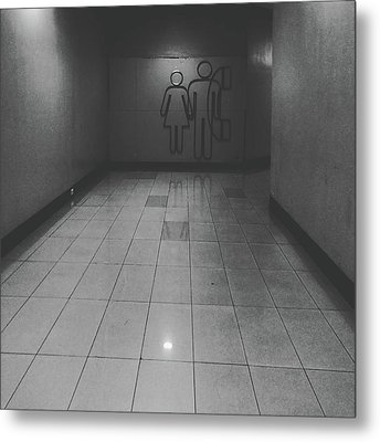 Walkway Towards Restroom Metal Print