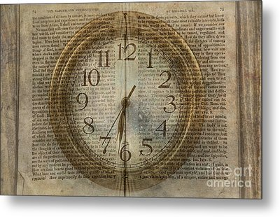 Metal Print featuring the digital art Wall Clock And Book Double Exposure by Randy Steele