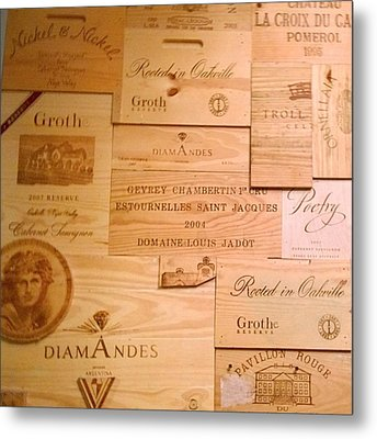 Wall Decorated With Used Wine Crates Metal Print by Shari Warren