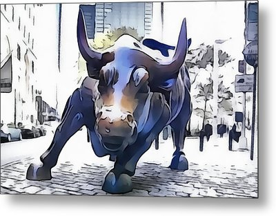 Wall Street Bull New York City Metal Print