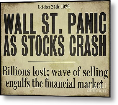 Wall Street Crash 1929 Newspaper Metal Print