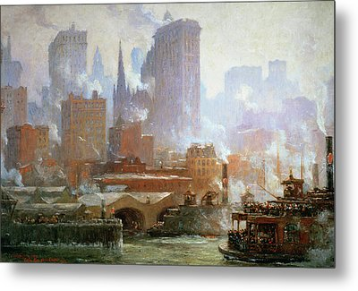 Wall Street Ferry Ship Metal Print by Colin Campbell Cooper
