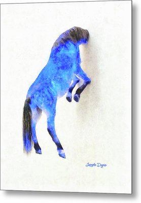 Walled Blue Horse Metal Print by Leonardo Digenio