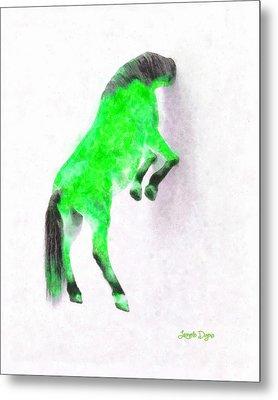 Walled Green Horse - Da Metal Print