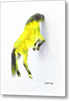 Walled Yellow Horse - Da Metal Print by Leonardo Digenio