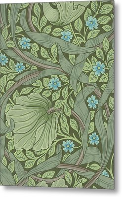Wallpaper Sample With Forget-me-nots Metal Print by William Morris