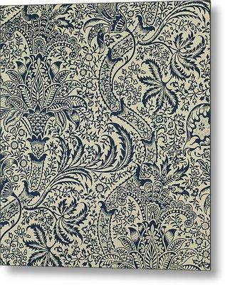Wallpaper With Navy Blue Seaweed Style Design Metal Print