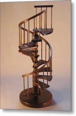 Walnut Spiral Staircase  Metal Print by Don Lorenzen