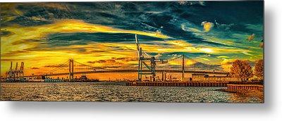 Walt Whitman Bridge Sunset Metal Print by Nick Zelinsky