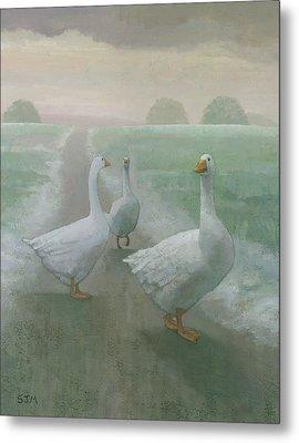 Wandering Geese Metal Print by Steve Mitchell