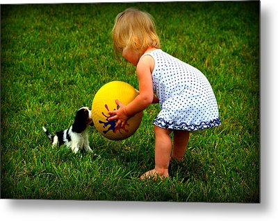 Wanna Play Ball Metal Print