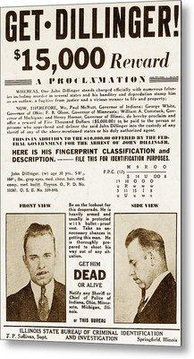 Wanted Poster For John Dillinger Metal Print