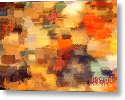 Warm Colors Under Glass - Abstract Art Metal Print by Carol Groenen