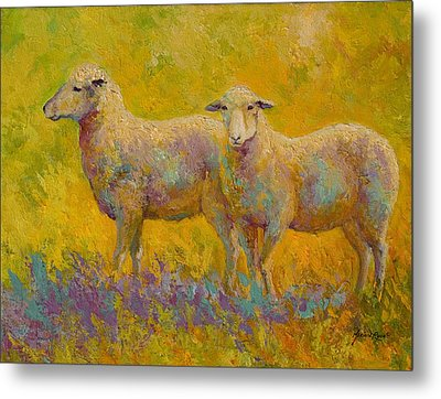 Warm Glow - Sheep Pair Metal Print by Marion Rose