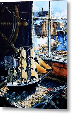 Warm Winter Pastime Metal Print