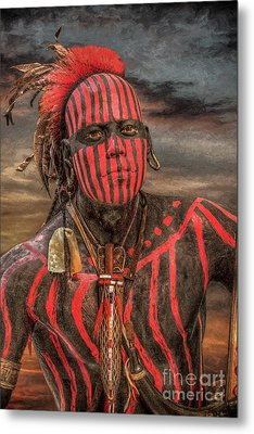 Warpath Shawnee Indian Metal Print by Randy Steele
