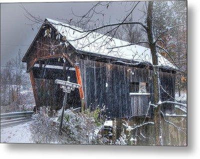 Warren Covered Bridge In Snow - Warren Vermont Metal Print by Joann Vitali