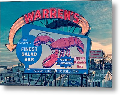Warrens Lobster House Neon Sign Kittery Maine Metal Print