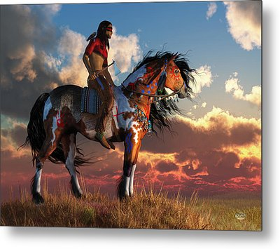 Warrior And War Horse Metal Print