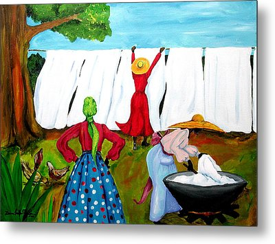 Metal Print featuring the painting Wash Day by Diane Britton Dunham