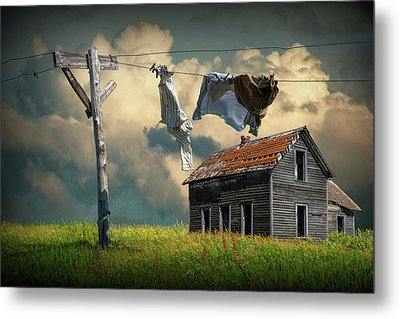 Wash On The Line By Abandoned House Metal Print